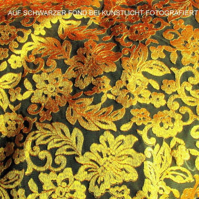 0871 Gold Blätter in Gold-Gelb auf gelben Tüll