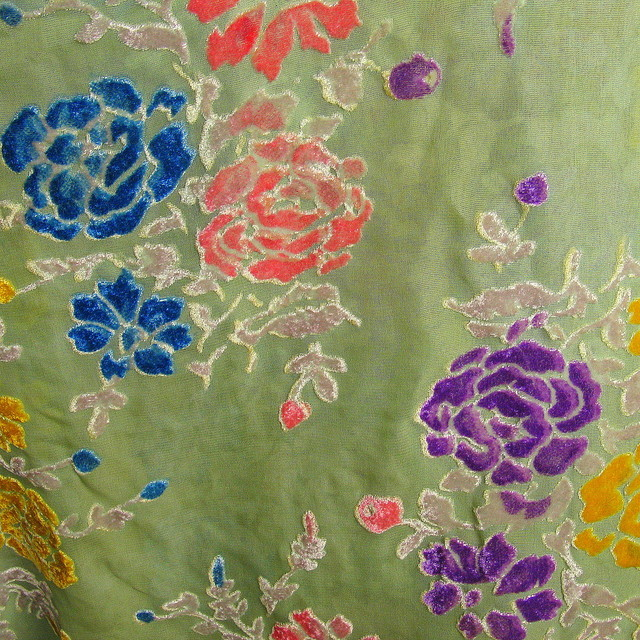 Seiden Samt Ausbrenner Rosen in  Lind Rosa Grau Blau Gelb Lila | Ansicht: Seiden Samt Ausbrenner Rosen in  Lind Rosa Grau Gelb Lila