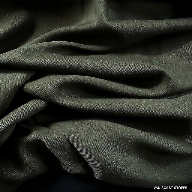 100 % TENCEL® schwerer Soft Gabardine in dunkel Khaki-Oliv