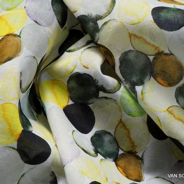 100% Baumwoll Voile  mit Wasserfarbigen Kreisen | Ansicht: 100% Baumwoll Voile  mit Wasserfarbigen Kreisen