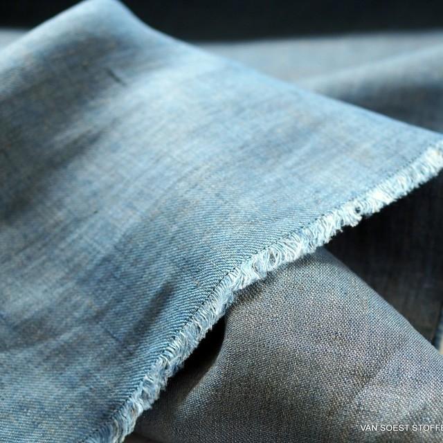 100% Leinen, Köper 2Ton Effekt beidseitig verwendbar Blau/Grau