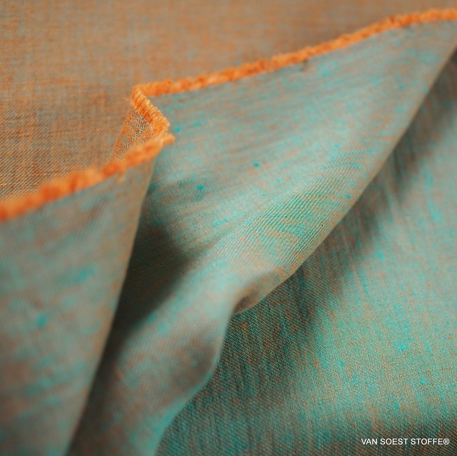 100% linen, twill 2Tone effect can be used on both sides orange/mintgreen