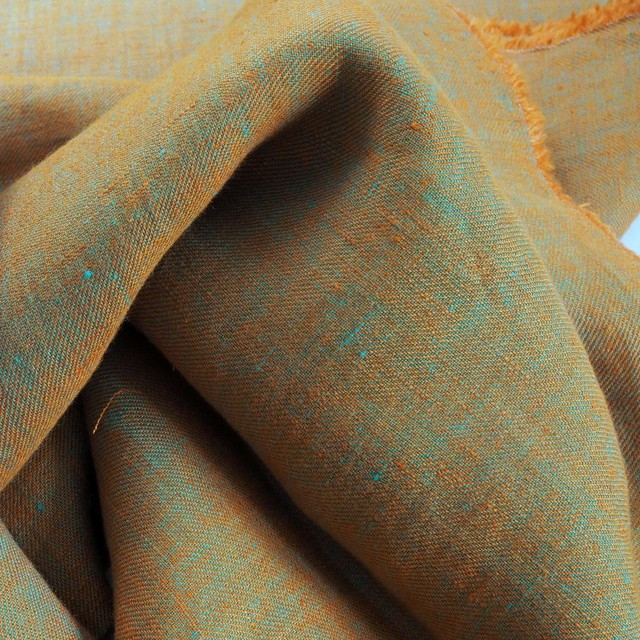 100% linen, twill 2Tone effect can be used on both sides orange/mintgreen | View: 100% linen, twill 2Tone effect can be used on both sides orange/mintgreen