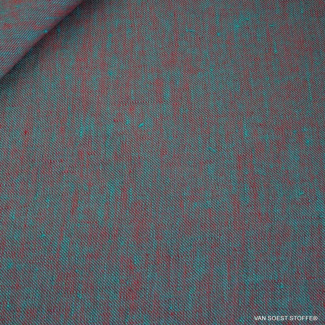 100% linen, twill 2Tone effect can be used on both sides red/mintgreen | View: 100% linen, twill 2Tone effect can be used on both sides red/mintgreen