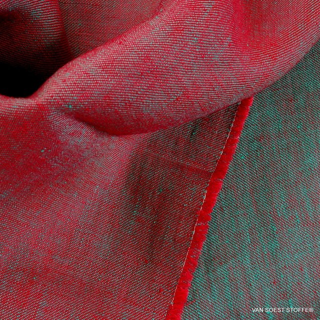 100% linen, twill 2Tone effect can be used on both sides red/mintgreen