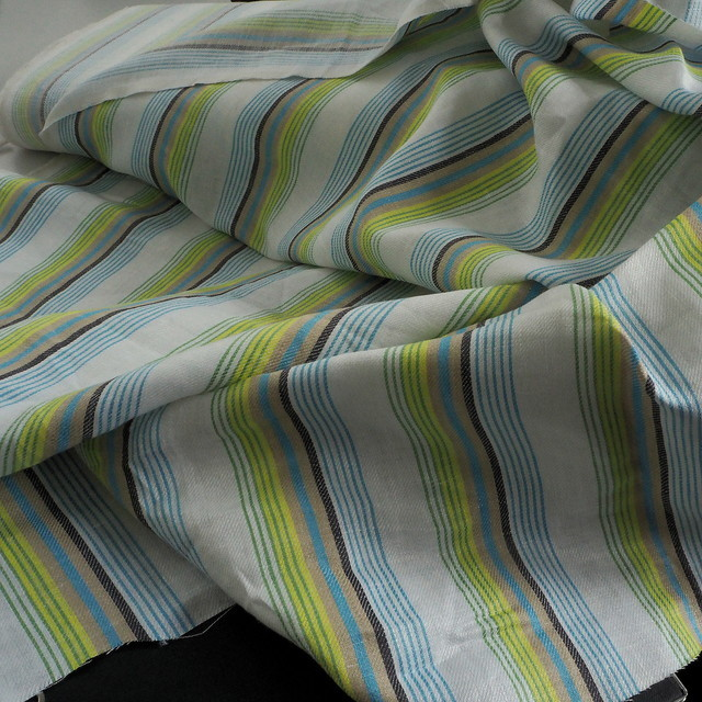 100% Leinen Satin Köper als Aqua farbiger Streifen | Ansicht: 100% Leinen Satin Köper als Aqua farbiger Streifen