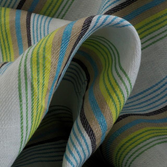 100% Leinen Satin Köper als Aqua farbiger Streifen