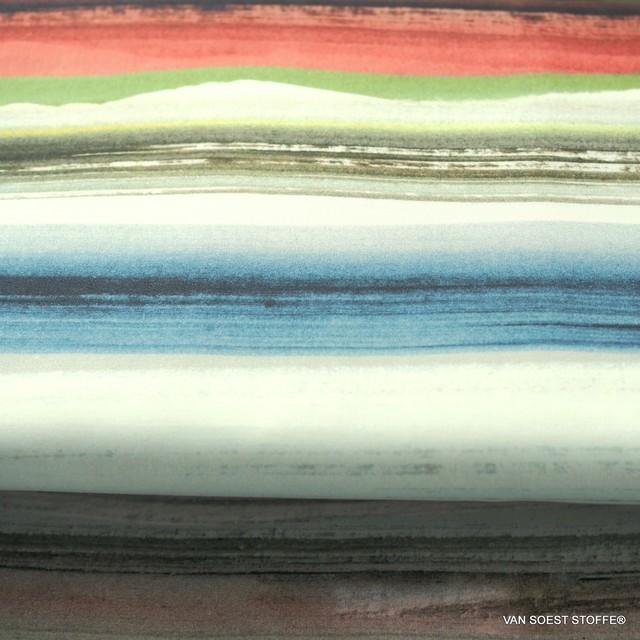 100% Organic Cotton soft Poplin printed stripe design Green Horizon Designed by C.Pauli | View: 100% Organic Cotton soft Poplin printed stripe design Green Horizon Designed by C.Pauli