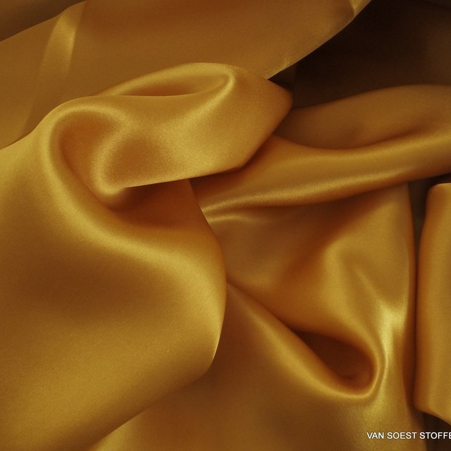 100% silk light satin in gold-yellow