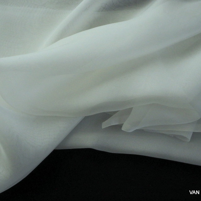 100% Seiden Chiffon in Weiß | Ansicht: 100% Seiden Chiffon in weiß