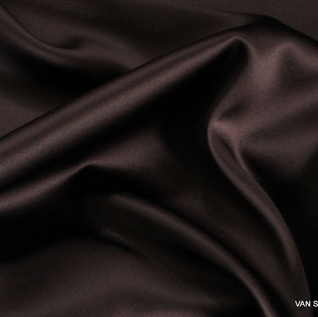 100% Stretch Satin Stoff - Stretch Seiden Satin in Dunkel-Beerenbraun