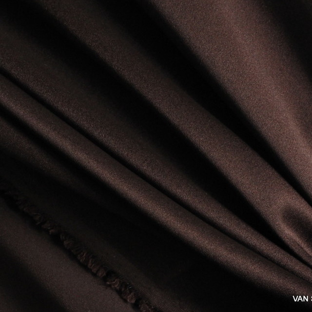 100% Stretch Satin Stoff - Stretch Seiden Satin in Dunkel-Beerenbraun | Ansicht: 100% Stretch Satin Stoff - Stretch Seiden Satin in dunkelbraun