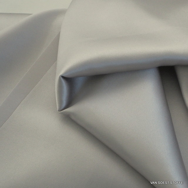 100% Stretch Satin Stoff - Stretch Seiden Satin in Silber Grau