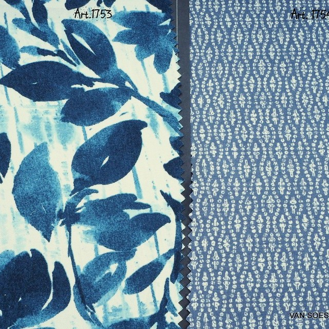 100% Tencel™ Batik Blätter Denim Print | Ansicht: 100% Tencel™ Batik Blätter Denim Print