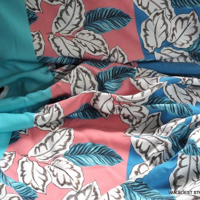 100% Tencel™ fancy leaf print design in aqua-rose