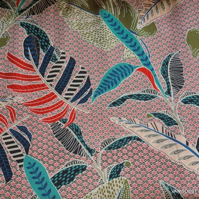 100% viscose muslin fancy 10 coloured leaf print design