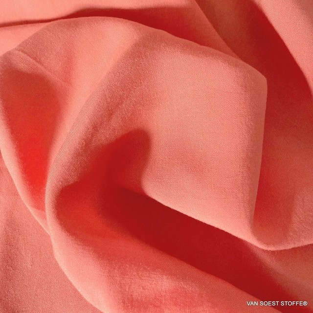 100% viscose soft woven fabric in peach pink | View: 100% viscose soft woven fabric in peach pink