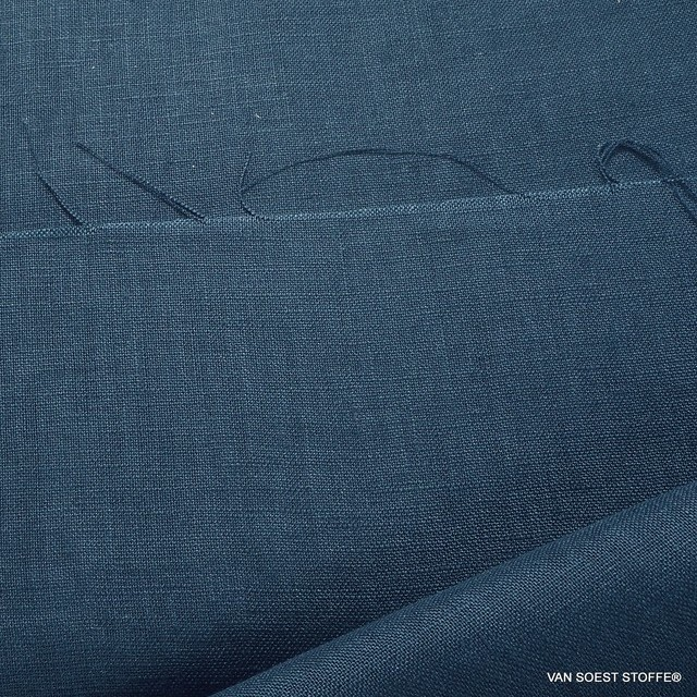 100% fine linen in denim blue
