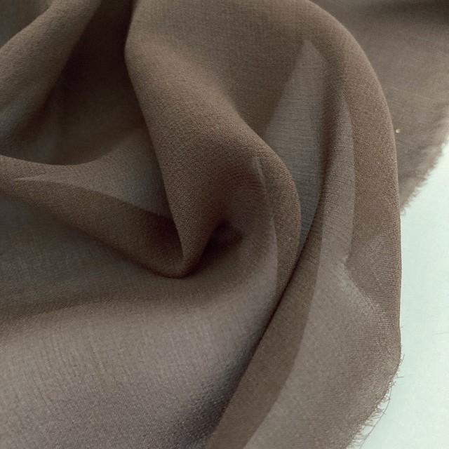 100% Italian Designer Silk Crepe Georgette Chiffon high twisted yarn kakao