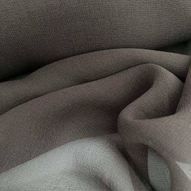 100% Italian Designer Silk Crepe Georgette Chiffon high twisted yarn mokka