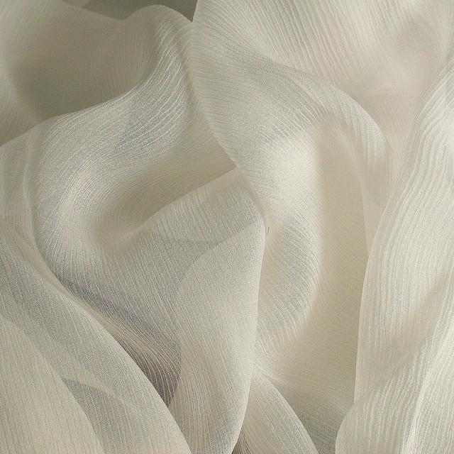 100% Reine Crincle Chiffon Seide Stoff in Off-White
