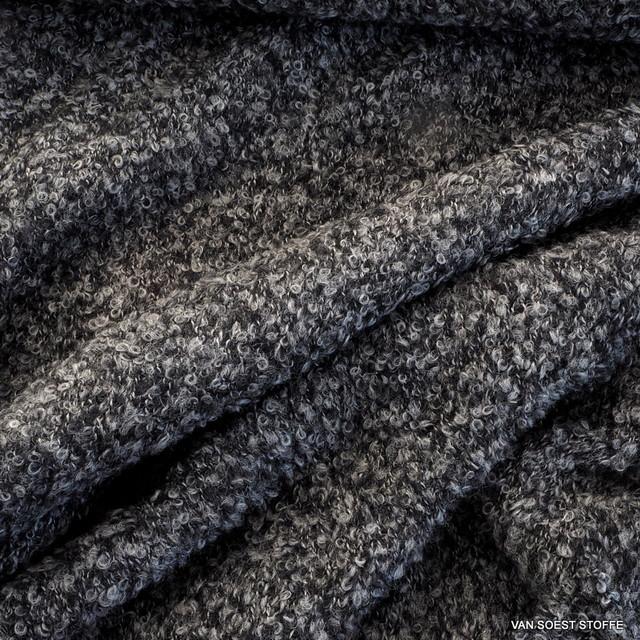 1046 - Bouclé Wolle-Seide in Grau melange