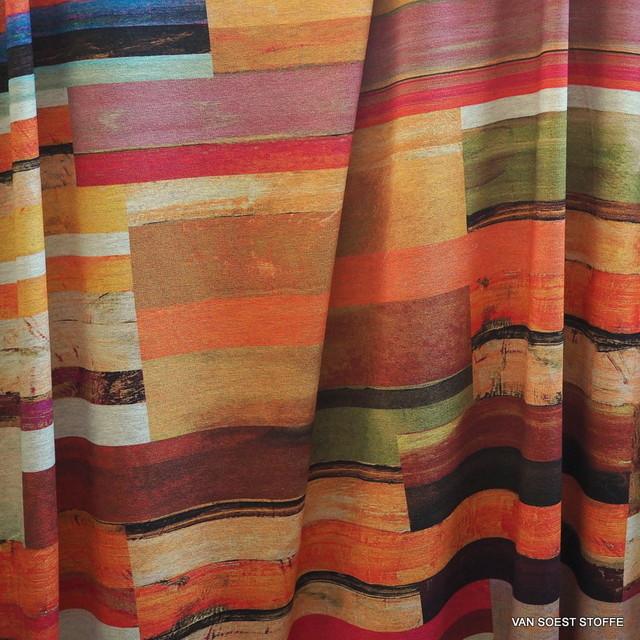 1048 - Stretch Viskose Jersey in neuem Balken Dessin Orange + Farben | Ansicht: Stretch Viskose Jersey in neuem Balken Dessin Orange+Farben