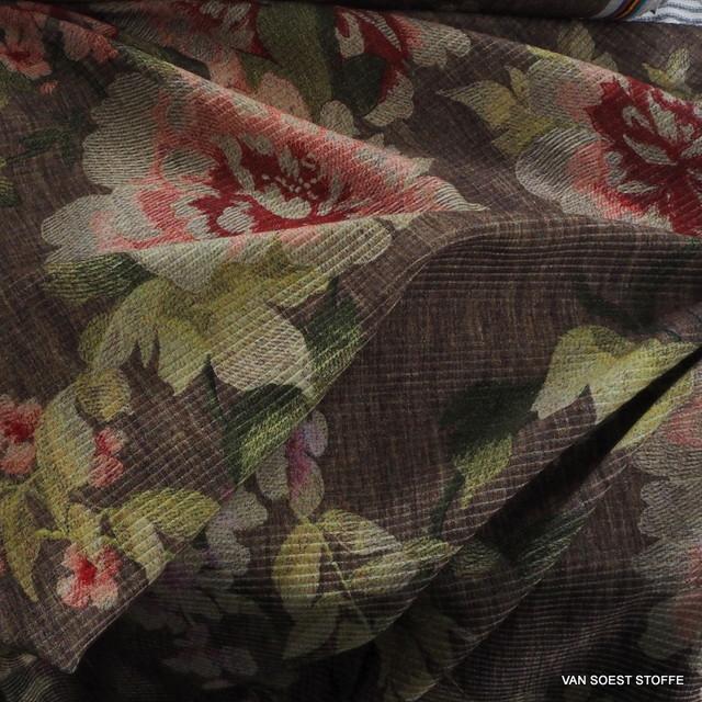 1104 - Blumen und Blättern auf Baumwoll Rips