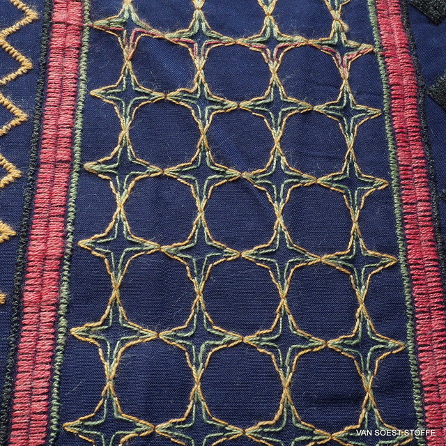 Fully embroidered viscose fabric in jeans look