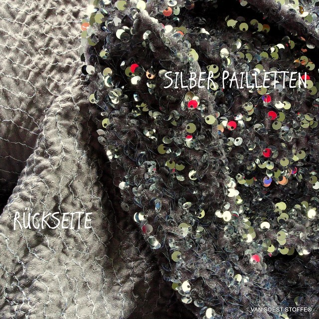 3-D stretch silver sequins on soft stretch light velvet | View: 3-D stretch silver sequins on soft stretch light velvet