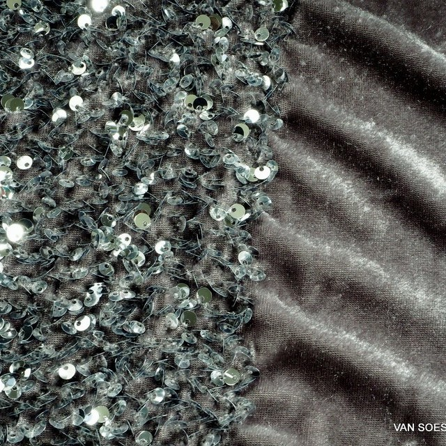 3-D stretch silver sequins on soft stretch light velvet
