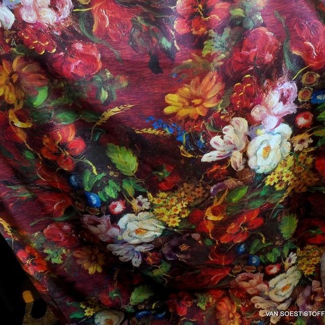 3D - Blumen Druck auf softer Viskose Musseline Crêpe. | Ansicht: 3D - Blumen Druck auf softer Viskose Musseline Crepe.