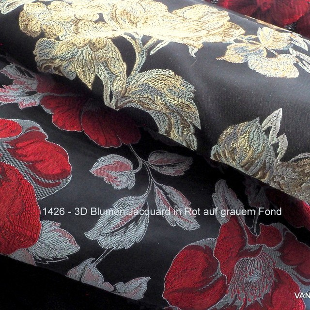 3D flowers jacquard in red on gray background | View: 3D flowers jacquard in red on gray background