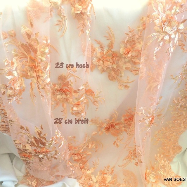 3D flower bouquets & embroidery on tulle color apricot-beige