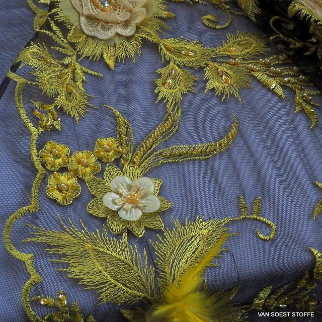 3D-Couture Spitze mit Perlen, Federn und 3-D Blümchen in Gelb-Schwarz | Ansicht: 3D-Couture Spitze mit Perlen, Federn und 3-D Blümchen in Gelb-Schwarz