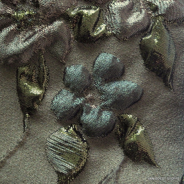 3D-Haute Couture Ranken Jacquard in Mocca-Olive | Ansicht: 3D-Haute Couture Ranken Jacquard in Mocca-Olive