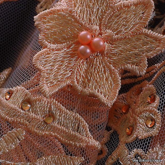 3D Perlen und Straß Couture Spitze in Lachs