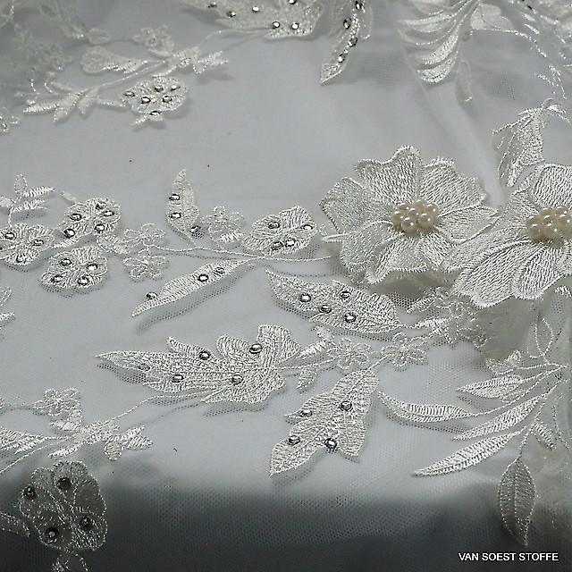 3D Perlen und Straß Couture Spitze in Weiß | Ansicht: 3D Perlen und Straß Couture Spitze in Weiß