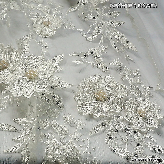 3D Pearls and Rhinestones Lace in white