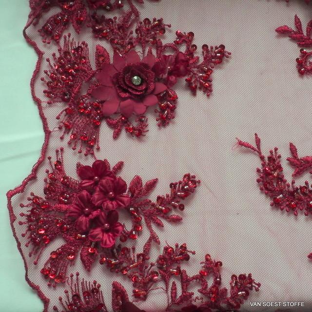 3D-Spitze mit Straß - Stäbchen - Perlen und mini Pailletten in Burgund Rot