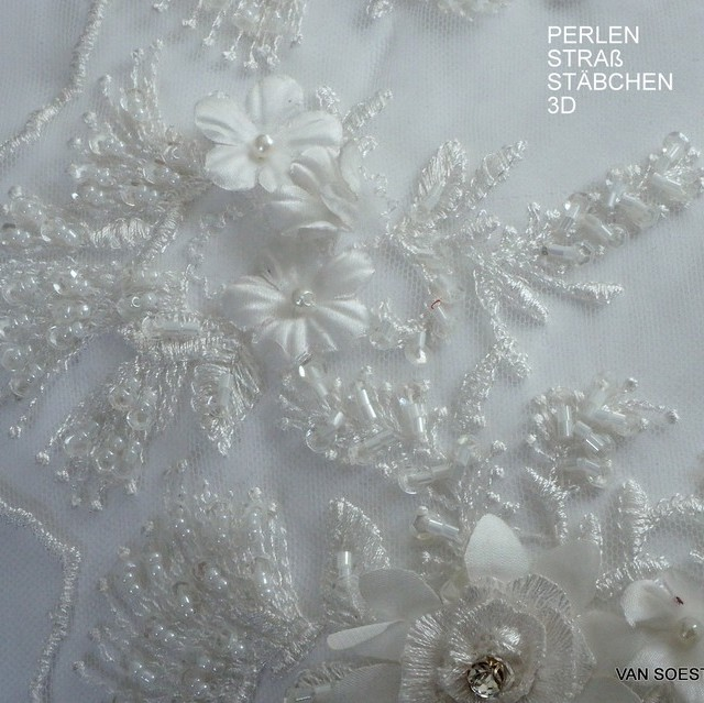 3D-lace with Swarovski-stabs-pearls and mini sequins tone in tone in white | View: 3D-lace with Swarovski-stabs-pearls and mini sequins tone in tone in white