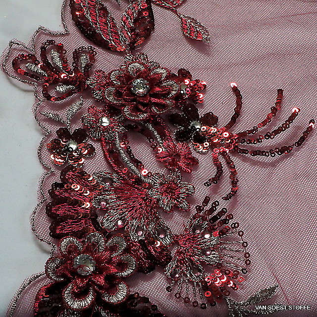 3D lace with rhinestones and sequins in burgundy