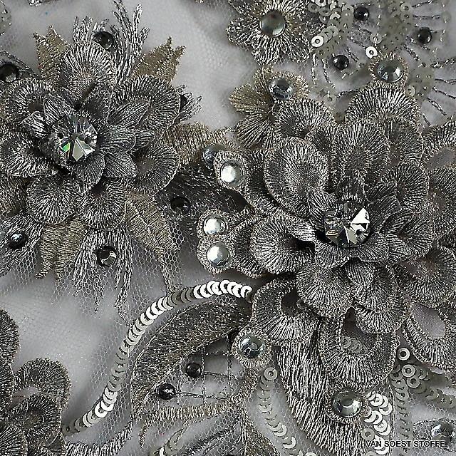 3D Spitze mit Straß Steine und mini  Pailletten in Silber | Ansicht: 3D Spitze mit Straß Steine und mini  Pailletten in Silber