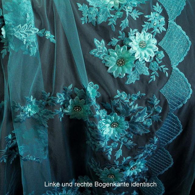 3D Lind-farbige Lurex Blumen Stickerei mit Strass