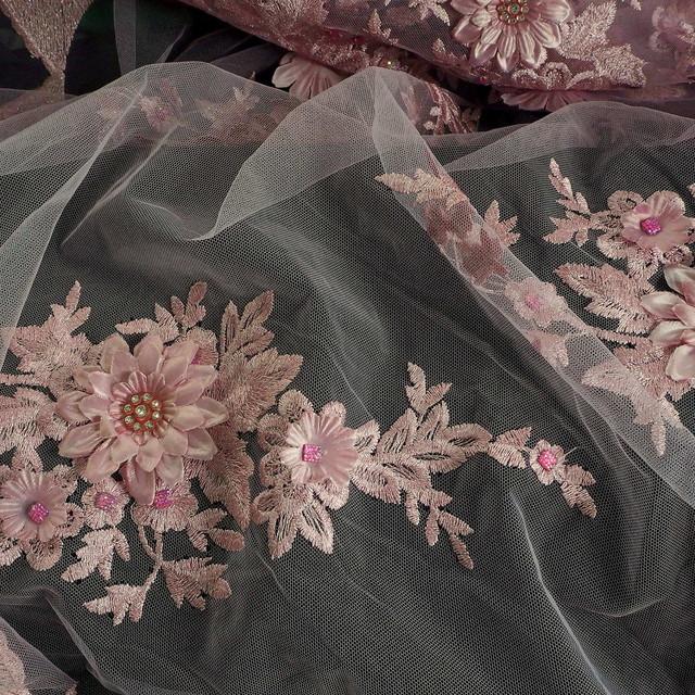 3D Rosa Lurex Blumen Stickerei mit Strass