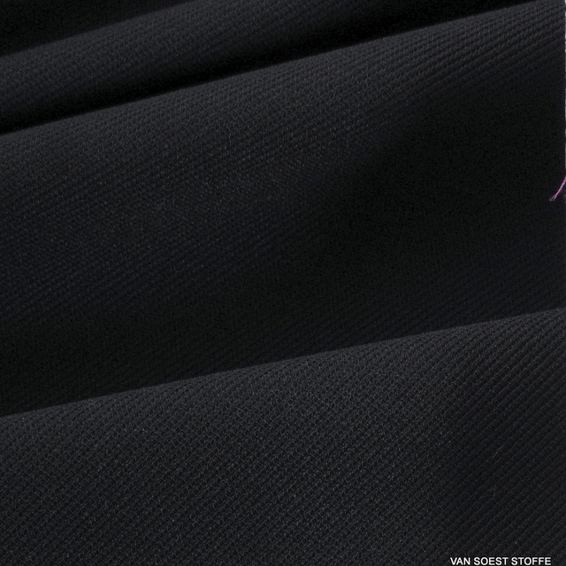 4 Way High Stretch Crepe Jersey Rippen Twill - Schwarz