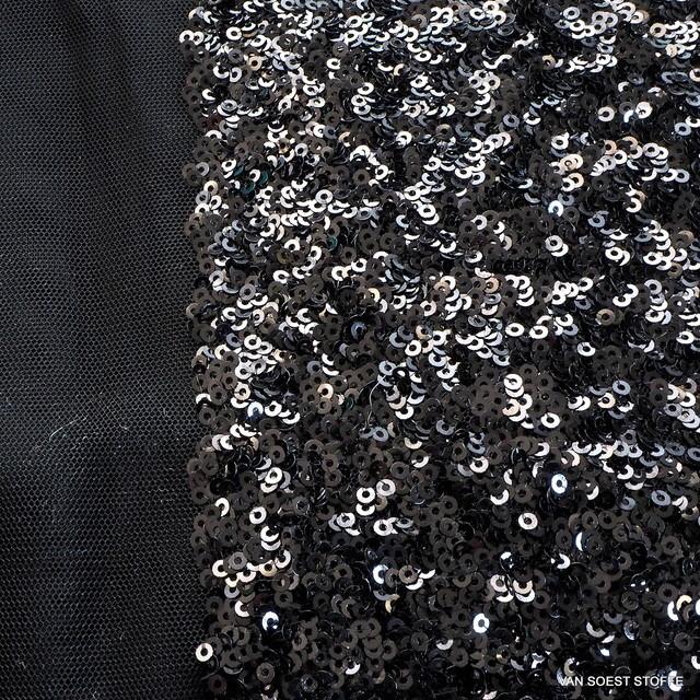 Allover Schwarze Glanz mini Pailletten auf Stretch Tüll | Ansicht: Allover Schwarze Glanz mini Pailletten auf Stretch Tüll