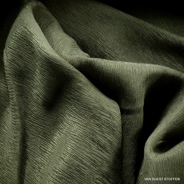 Tree Bark Crepe Satin in TENCEL®-Cupro in Green-Gray