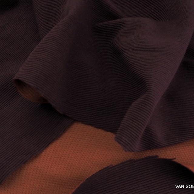 Baumwolle Piqué-Rippen Stretch in Burgund-Orange | Ansicht: Baumwolle Piqué-Rippen Stretch in Burgund-Orange