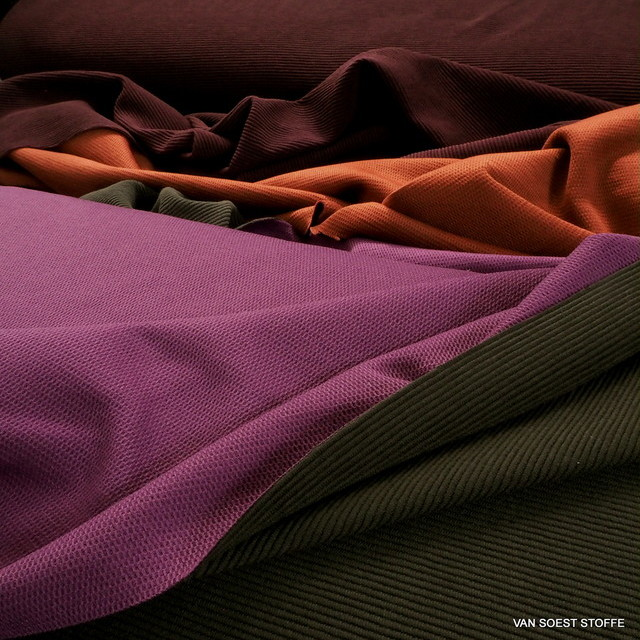Baumwolle Piqué-Rippen Stretch in Burgund-Orange | Ansicht: 1312-13 Baumwolle Piqué-Rippen Stretch Farben